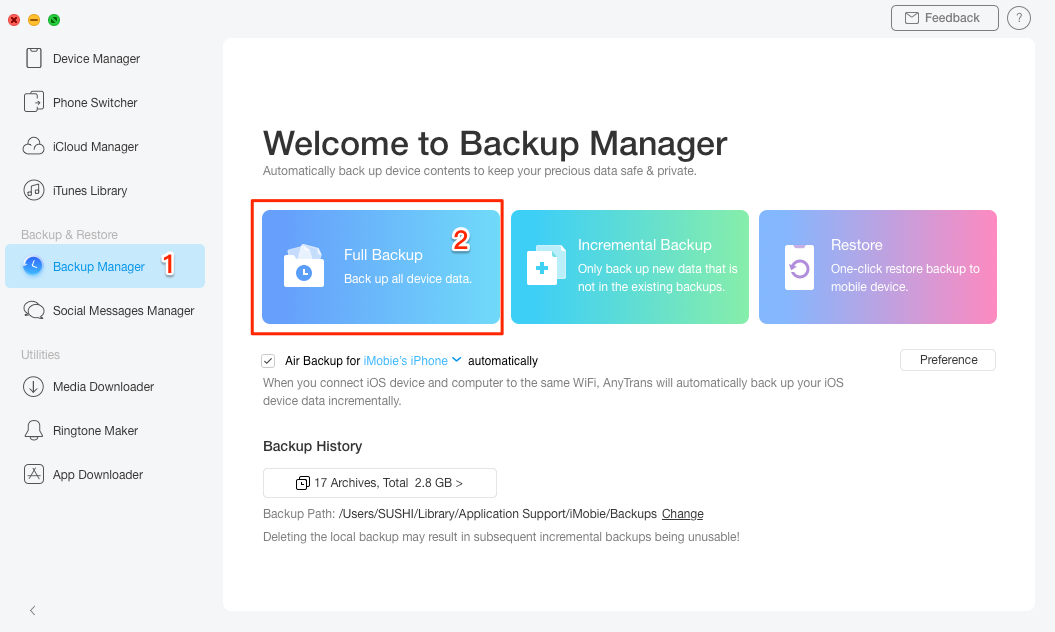 Backup iPhone/iPad with AnyTrans - Step 2
