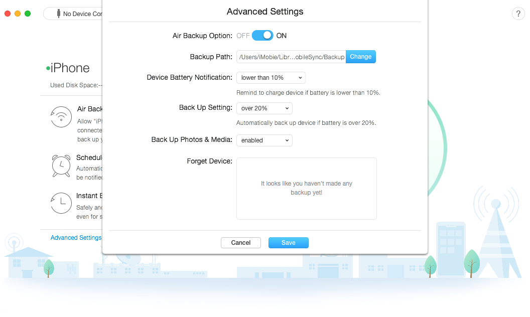 How to Backup iPhone Over WiFi with AnyTrans - Step 3
