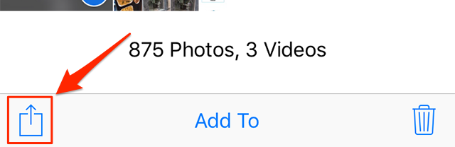 Tap on the share option to backup your photos