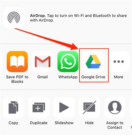 Share photos using the Google Drive option