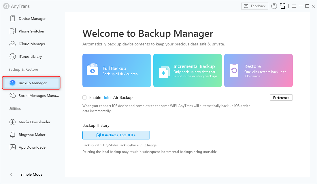Backup Manager in AnyTrans for iOS - Step 1