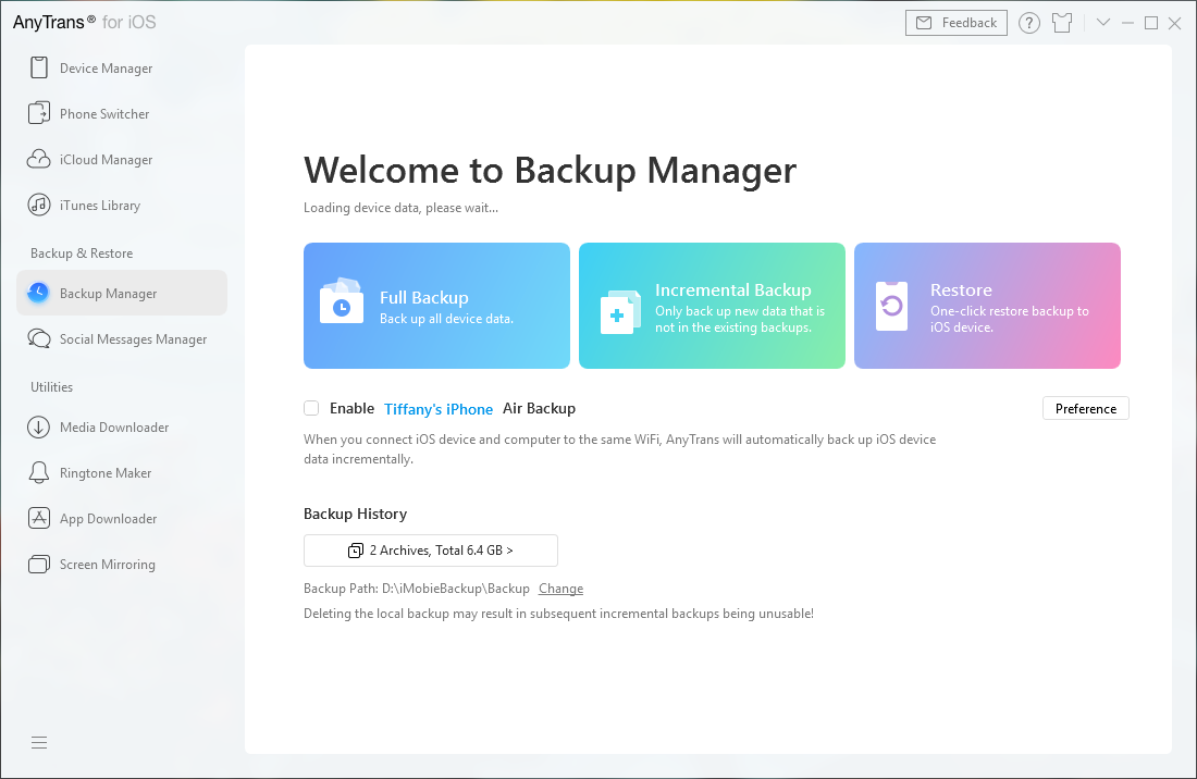 Backup Manager in ATI