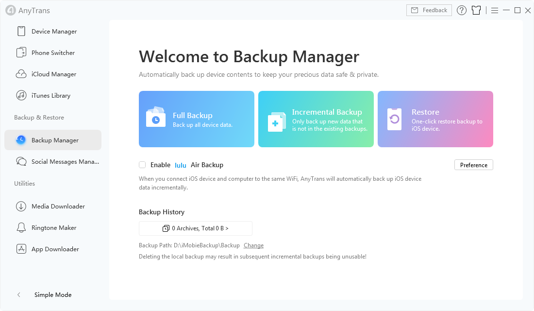 Backup Manager Interface in AnyTrans for iOS - Step 2