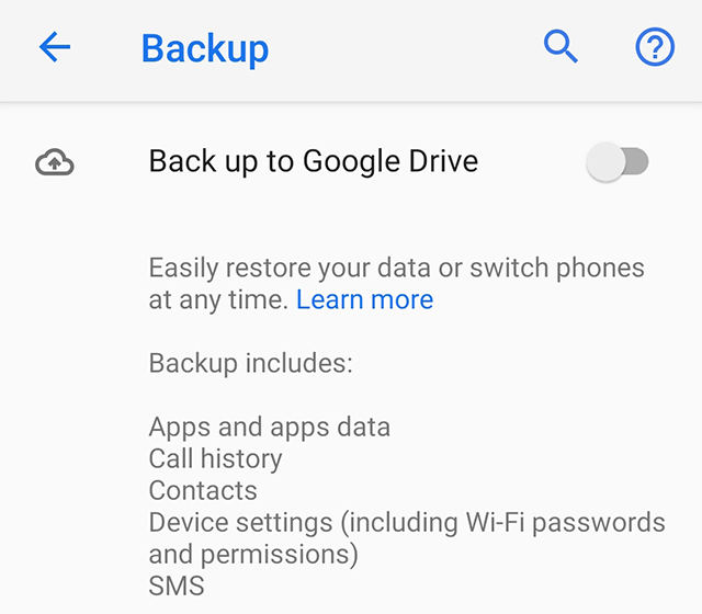 Enable Google Backup on Android