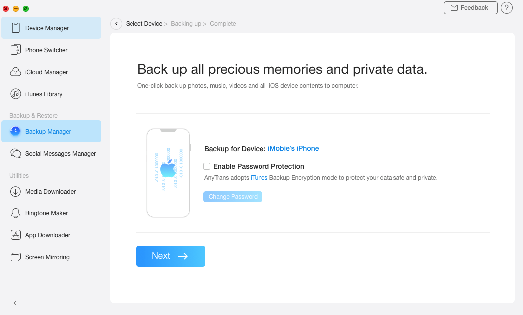 Add password protection to the iPhone backup
