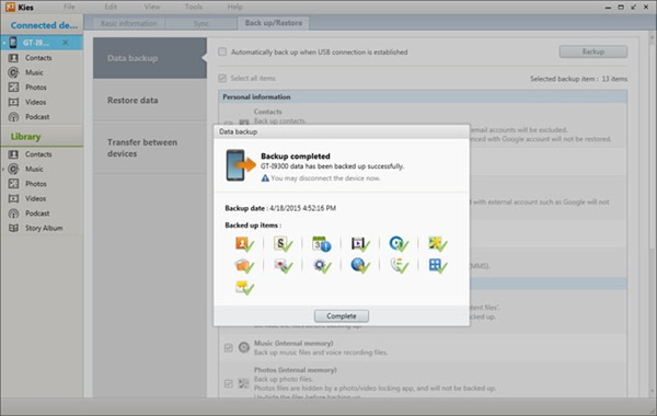 Backup Samsung to PC/Mac with Samsung Kies - Step 4