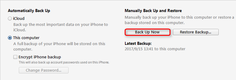Backup Text Messages on iPhone with iTunes