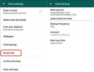 Backup WhasApp to Email