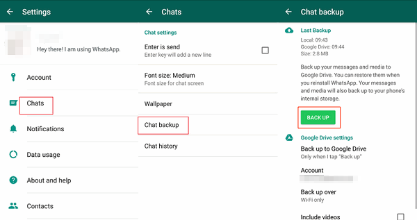 Backup WhatsApp Chats on Android