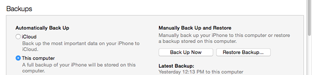 Back up iPod with iTunes
