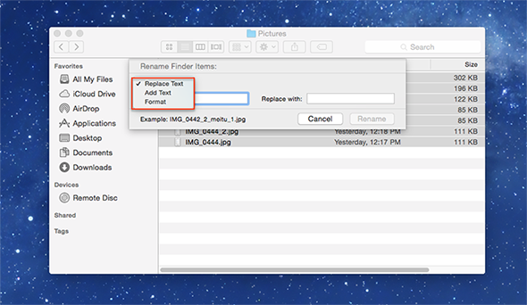 How to Batch Rename Files in Yosemite – Step 5