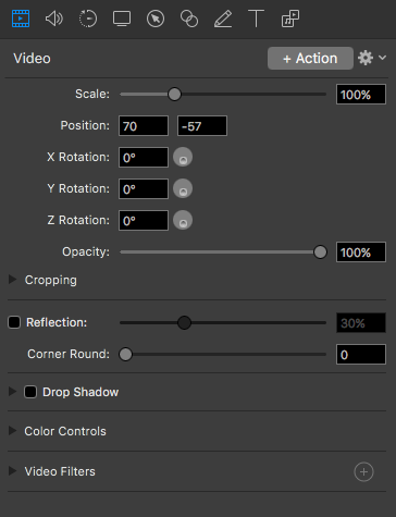 Editing Properties of ScreenFlow