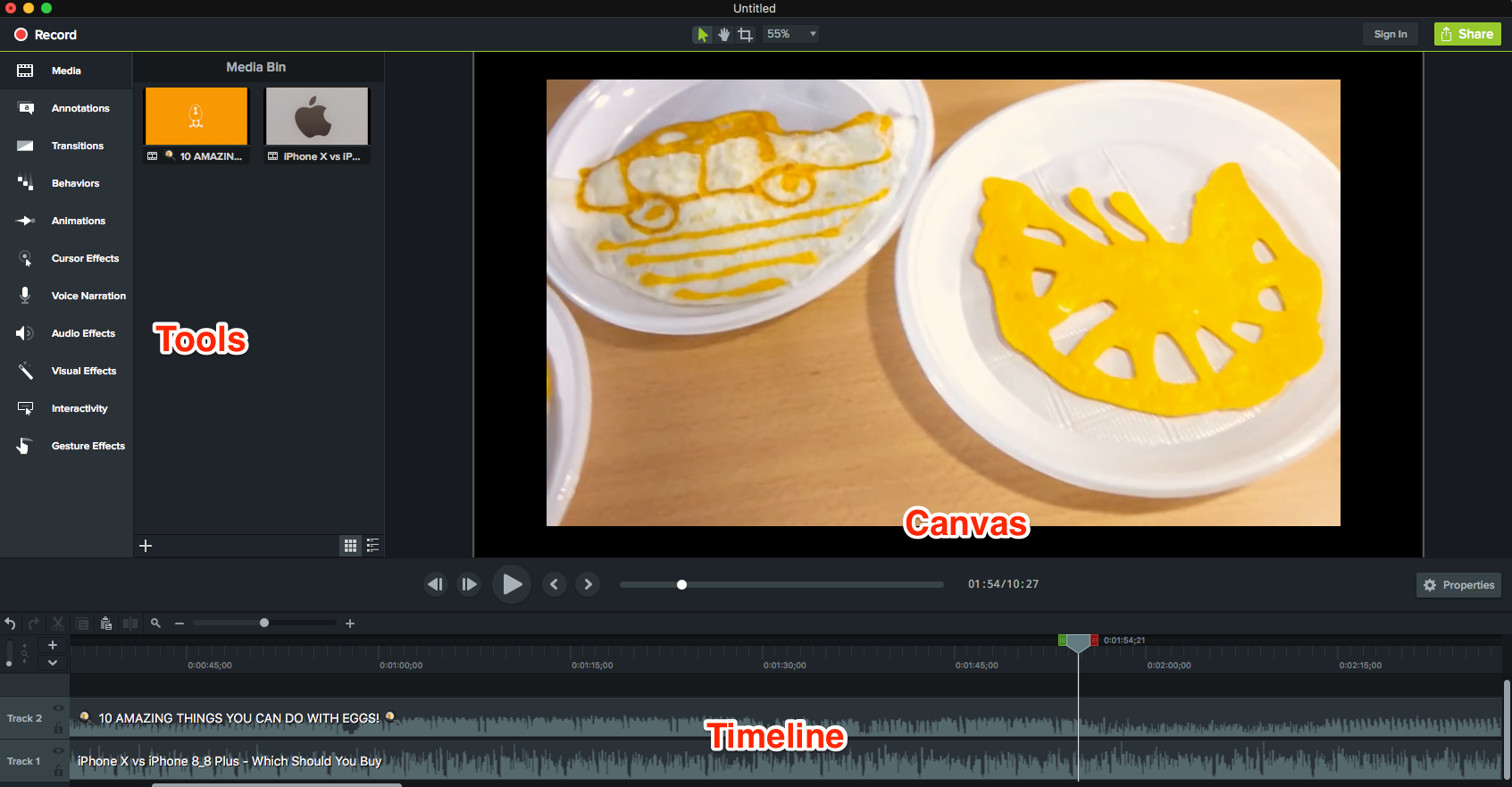 Editing Interface of Camtasia