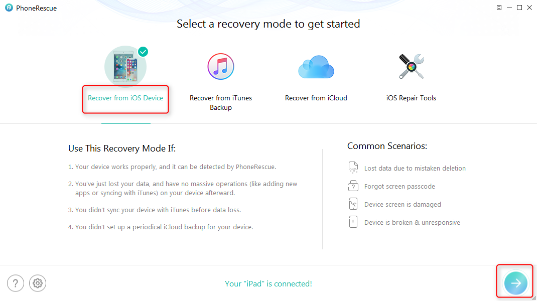 Recover Deleted Photos from My iPad without Backup – Step 1