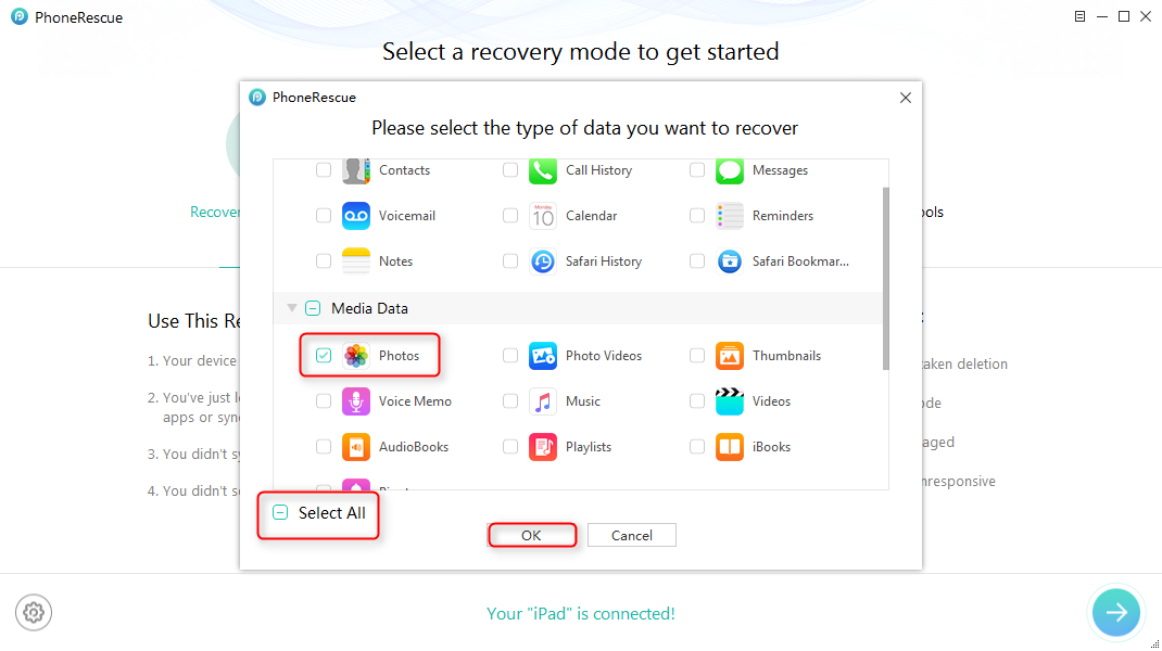 Recover Deleted Photos from My iPad without Backup – Step 2