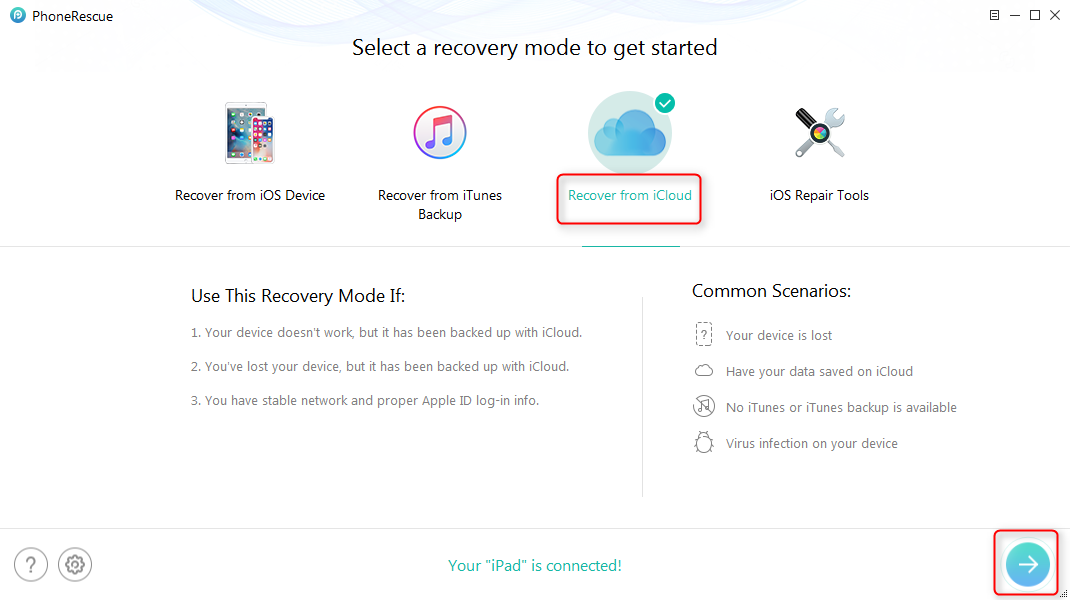 Recover Deleted Photos from iPad with iCloud Backup – Step 1