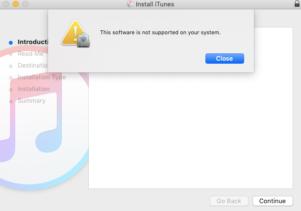 Can't Install iTunes 12.6.3 in macOS Mojave