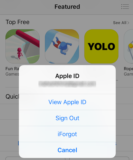 Select the View Apple ID Option
