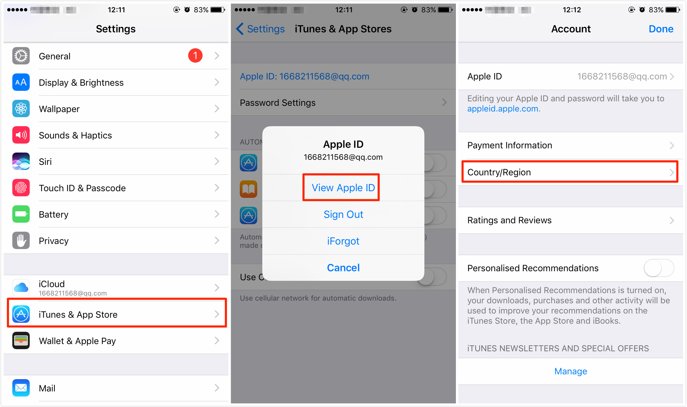 Change iTunes Store Country or Region on iPhone/iPad/iPod – Step 1