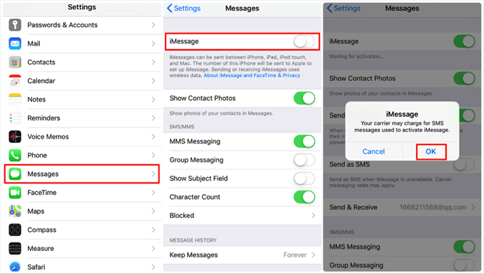 How to Change Text Message to iMessage on iPhone/iPad – Step 2