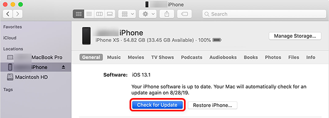 Update your iPhone with iTunes or Finder