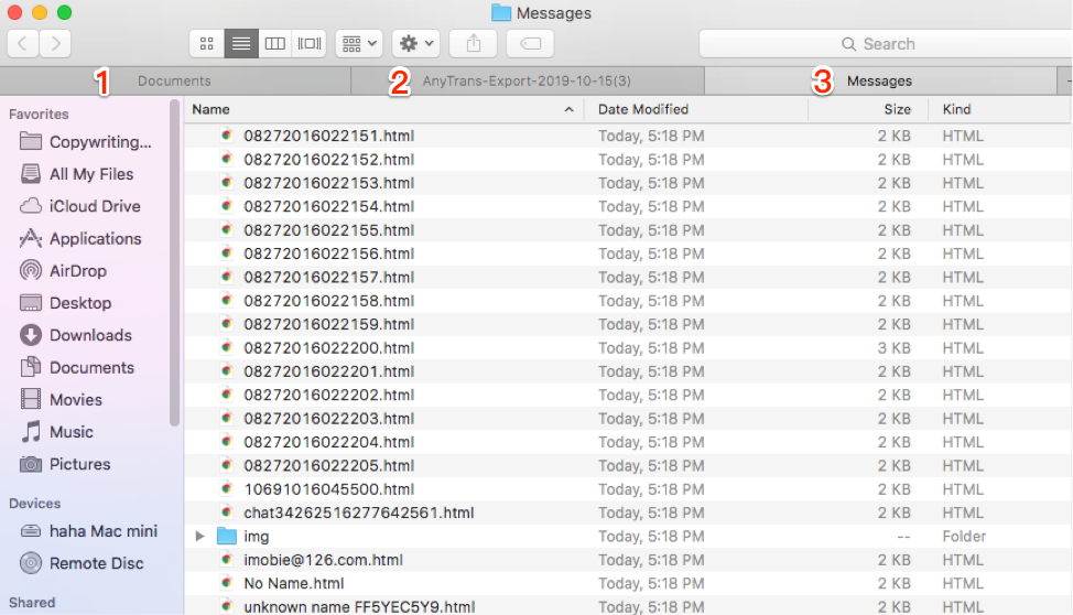 Check the Messages Backup