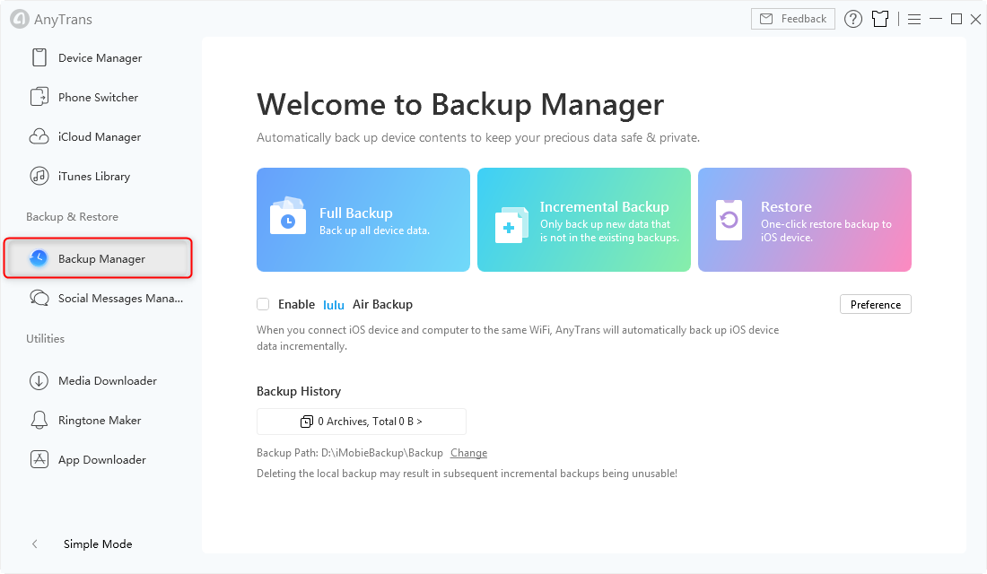 Choose Backup Manager Tab in AnyTrans - Step 1
