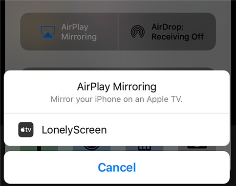 Choose LonelyScreen from the AirPlay compatible devices