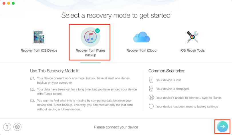 Choose Recover from iTunes Backup in PhoneRescue for iOS
