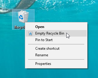 Delete everything from the Recycle Bin