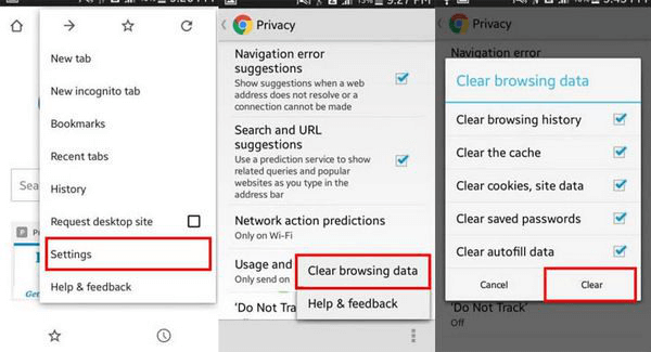 Clear Browsing Data on Chrome