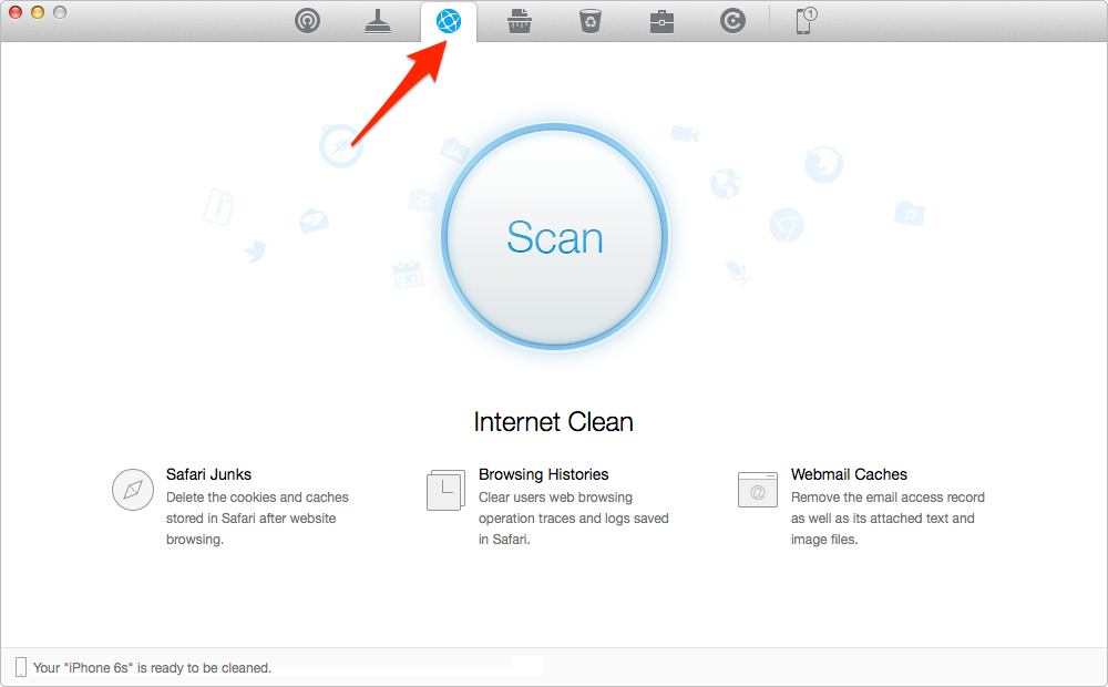 Clear Safari History and Cookies with PhoneClean – Step 2