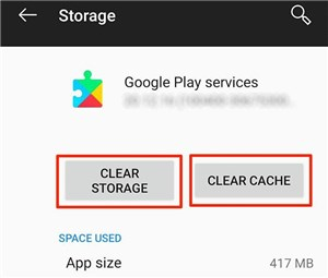 Clear Storage on Google Play Services