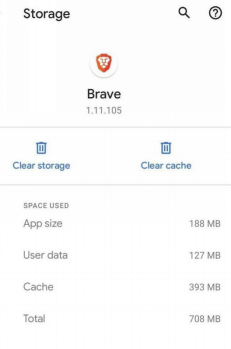 Click Clear Cache from Storage