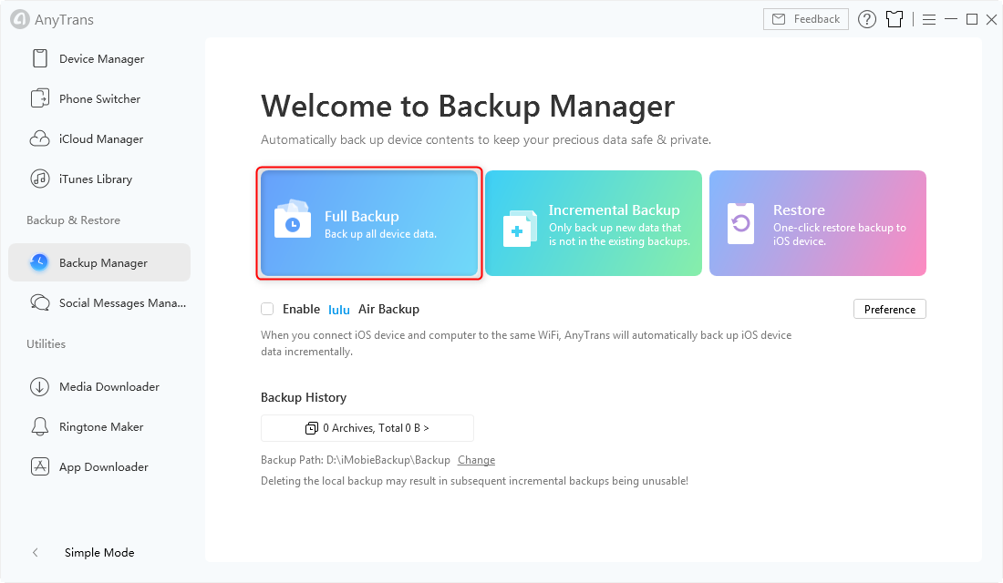 Click Full Backup in AnyTrans for iOS - Step 2