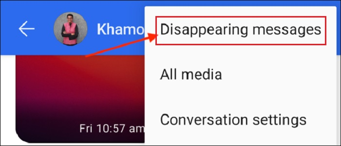 Click on Disapperaring Messages