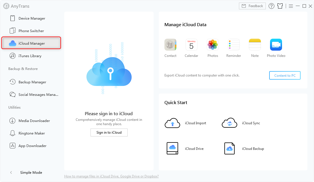 Click on iCloud Manager Option in AnyTrans - Step 1