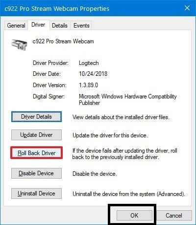 Click on Roll Back Driver