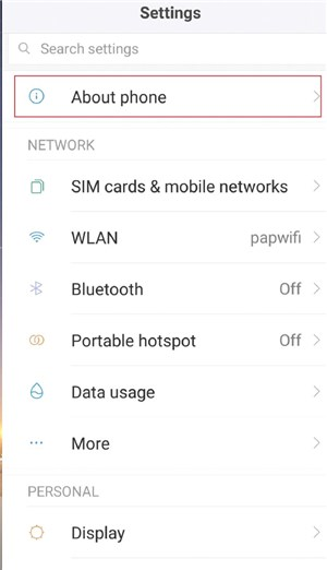 About Phone option in Settings