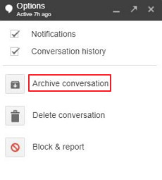 Click on the Archive Conversation Option