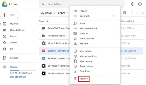 Click Remove to Delete Files on Computer