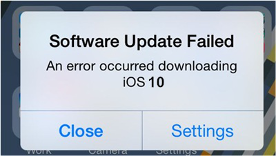 iOS 10 Issues – Software Update Failed