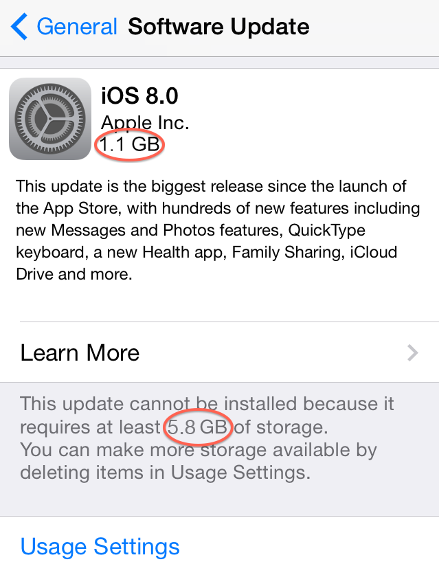 Common iOS 8 Problems – Haven't Enough Storage for Upgrading