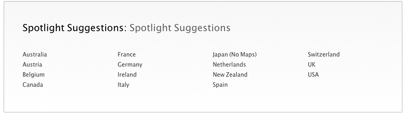 iOS 8 Problem – the List of Spotlight Suggestion Supported Countries