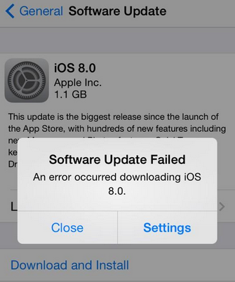 iOS 8 Problem – Downloading Error