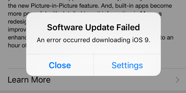 iOS 9 Problems - Software Update Failed