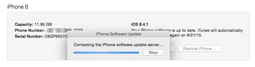 iOS 9 Problems - Stuck on Contacting Software Update Server