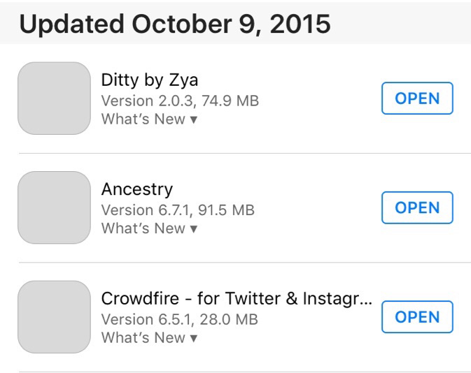 iOS 9 Problems - No App Icons on 'Update' Tab in App Store