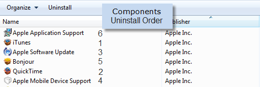 Uninstalling iTunes components in this order