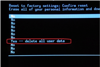 Confirm to Delete All the Data